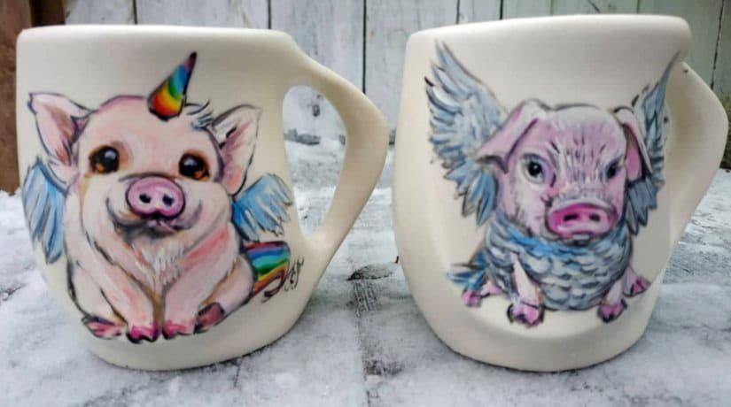 чашки, свинки