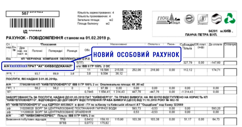 лицевой счет, Киевводоканал