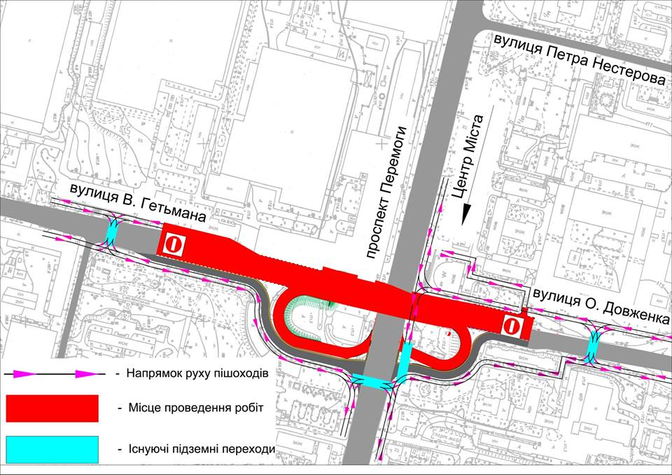 схема движения пешеходов, Шулявский мост
