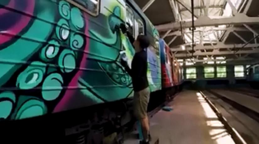 В метро начал курсировать поезд-мурал