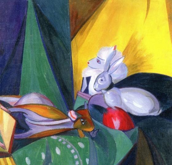 Изображение зайчика и других зверей кисти киевского художника-авангардиста А. К. Богомазова