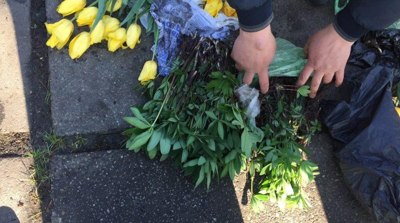 В парке вдоль улицы Малышко задержали женщину с украденными с клумб цветами