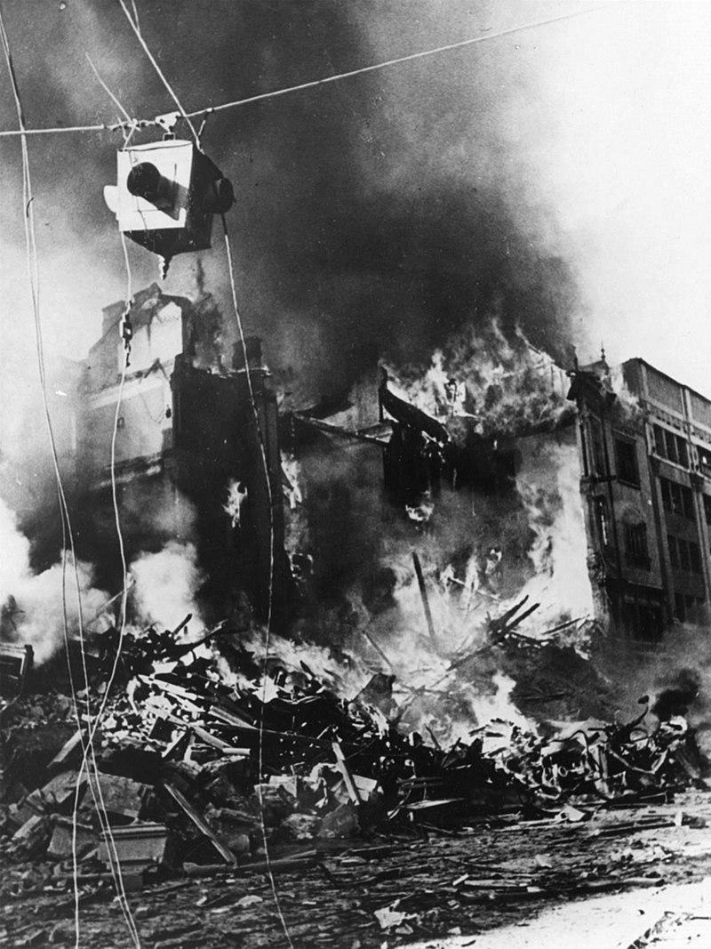Пожар на углу Прорезной и Крещатика, 1941 год