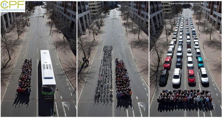 Сколько места на дороге занимают разные виды транспорта для перемещения одинакового количества людей