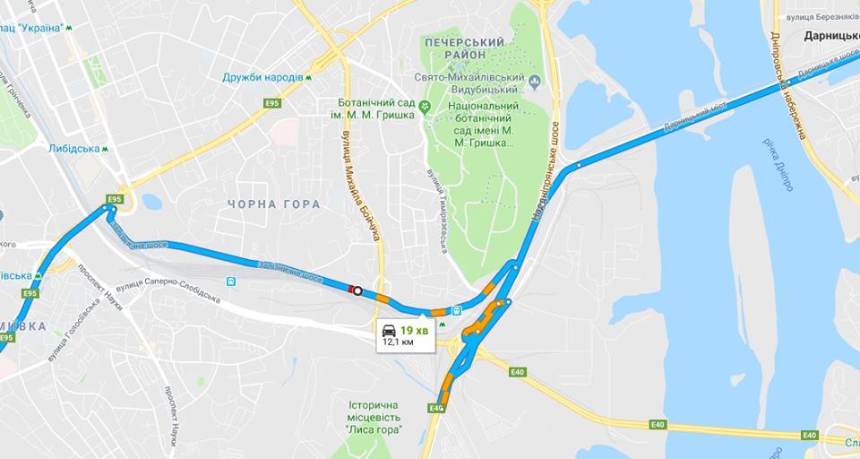 Предлагаемый маршрут с Голосеево на Дарницкий мост через Железнодорожное шоссе…