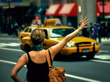 девушка, такси