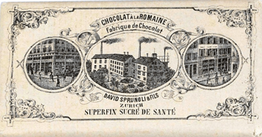 Шоколадная фабрика в Цюрихе. Реклама середины XIX века