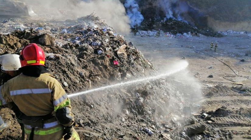 мусорная свалка, пожар