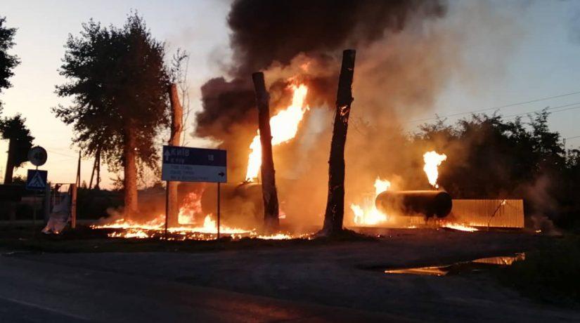 Под Киевом в результате пожара на АЗС охранник получил ожоги
