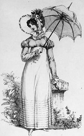 Гравюра 1815 года. Барышня с зонтиком