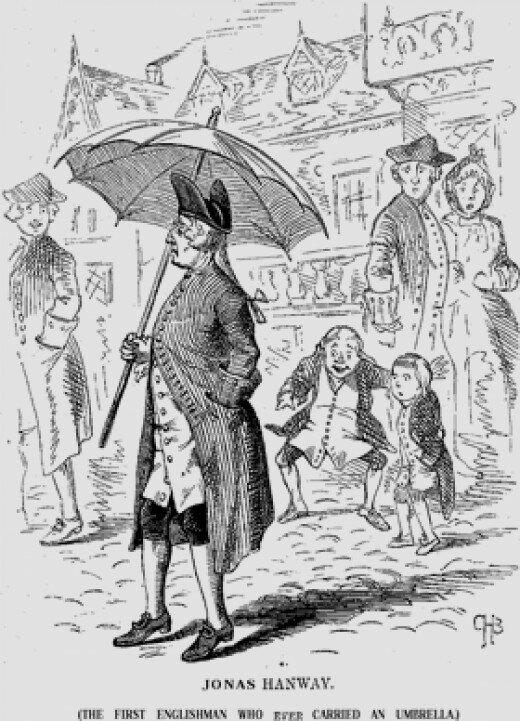 Джонас Хэнвей - изобретатель зонтика, защищающего от дождя