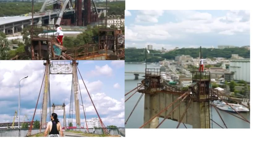 Экстремальное видео: Джаред Лето взобрался на верхушку моста в Киеве