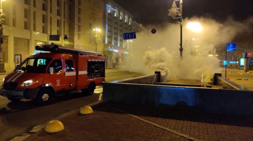 Пожар на Майдане – полночи горел коллектор с электрокабелем