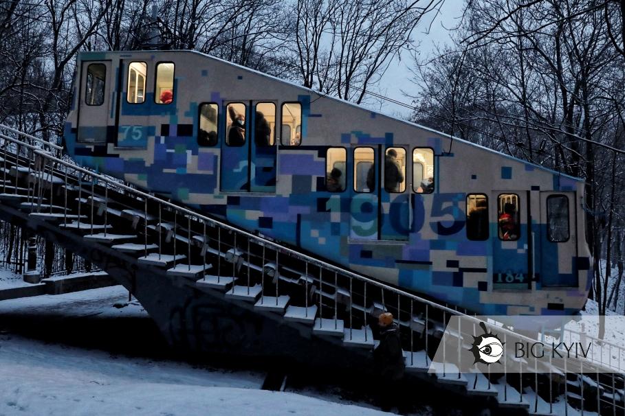 Киев снег Фуникулер