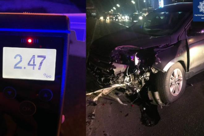 На Дарниці п'яний водій протаранив поліцейське авто: інспекторку шпиталізували (ВІДЕО)