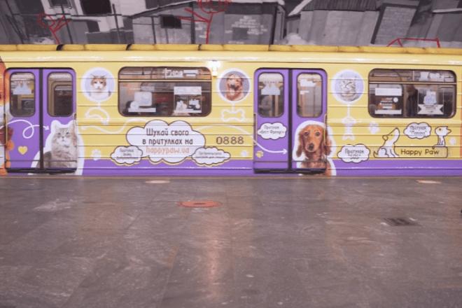 Шукай свого. Кото-песо-поїзд у підземці рекламує безпритульних тварин