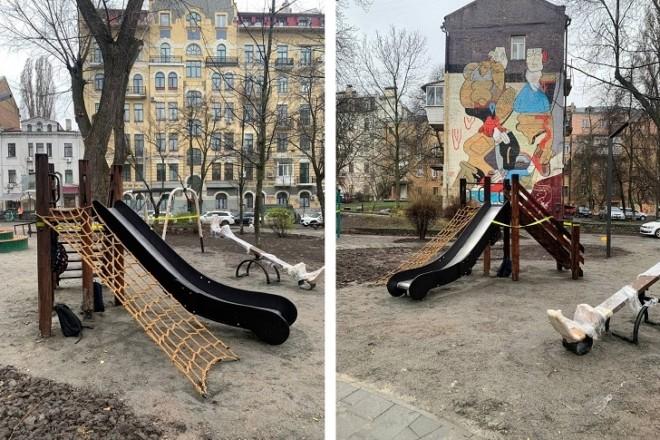 Як оновили дитячий майданчик у сквері київських інтелігентів