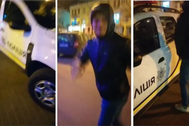 Веселі історії. Парубки на Троєщині помочилися на поліцейське авто(ВІДЕО)