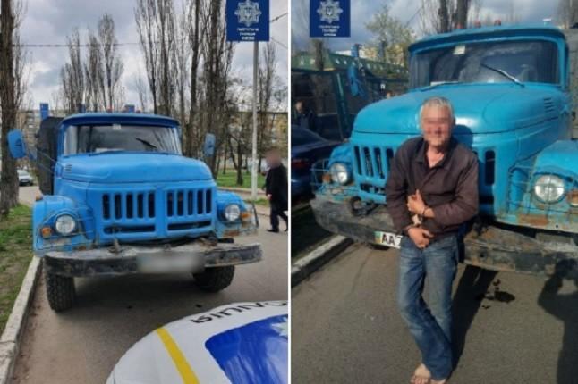 Хотів з'їздити у справах. У Києві чоловік вкрав вантажівку (ФОТО, ВІДЕО)