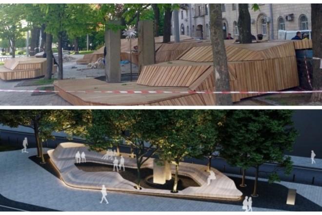 У Литовському сквері встановлюють лаву-терасу з підсвічуванням (ФОТО)