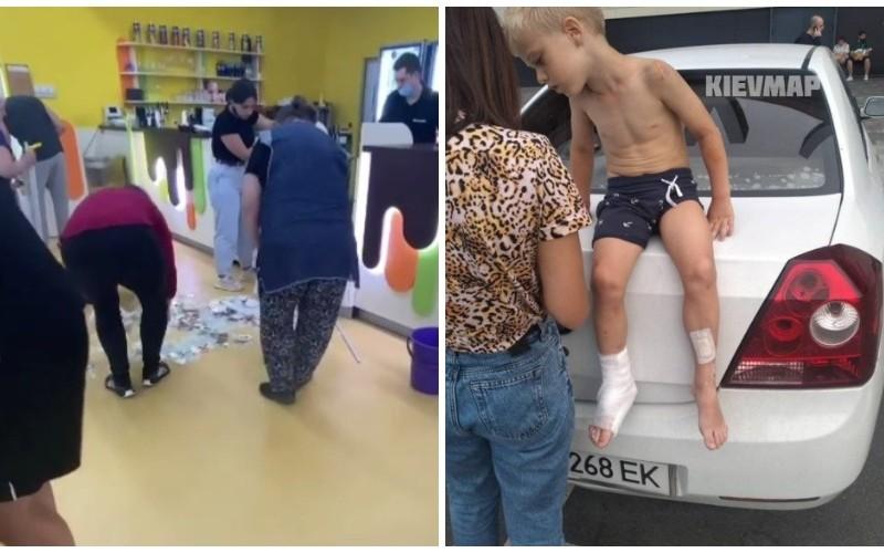 В столичному ТРЦ на дитину впала вітрина. Йому порізало ноги, а адміністрація так і не вийшла (ФОТО)