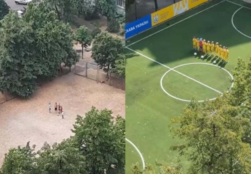 Юні футболісти з Троєщини, які співали у дворі Гімн, отримали нове поле (ФОТО, ВІДЕО)
