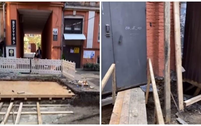 На вулиці Басейній заради ресторану розрили весь двір будинку (ВІДЕО)