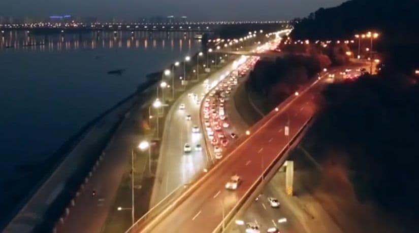 Опубликовано видео, где представлено новое освещение Набережного шоссе
