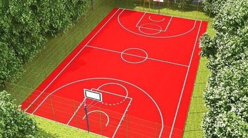В Соломенском районе началось строительство баскетбольной площадки